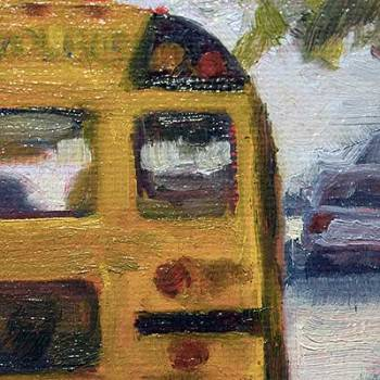 close up of school bus oil painting