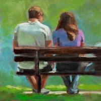 sitting on a bench oil painting figurative
