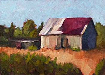 Disrepair - small daily oil painting country barn
