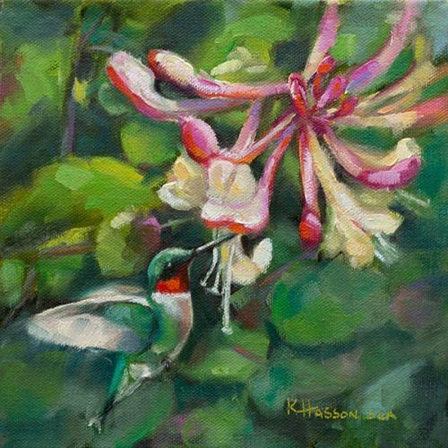Ruby Throated Hummingbird oil painting by Krista Hasson