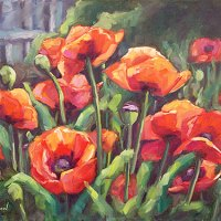 poppy garden oil painting by Krista Hasson