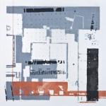 Krista Svalbonas - Wurzburg 2, blacksmith powder and copper photo-serigraph on mylar , 9x9, 2013
