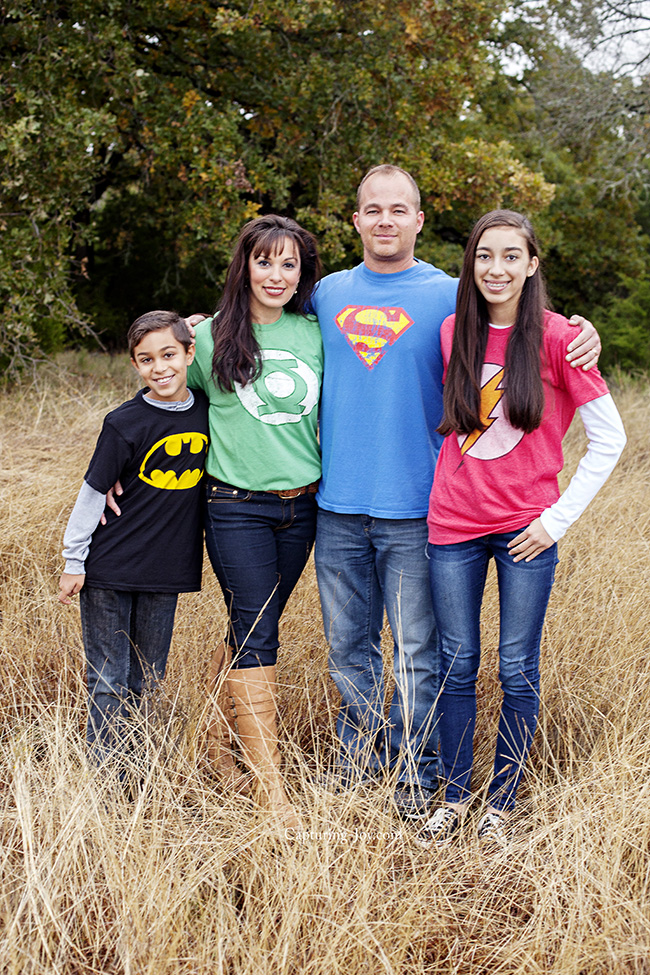 Extended Family Pictures In Superhero Shirts Capturing