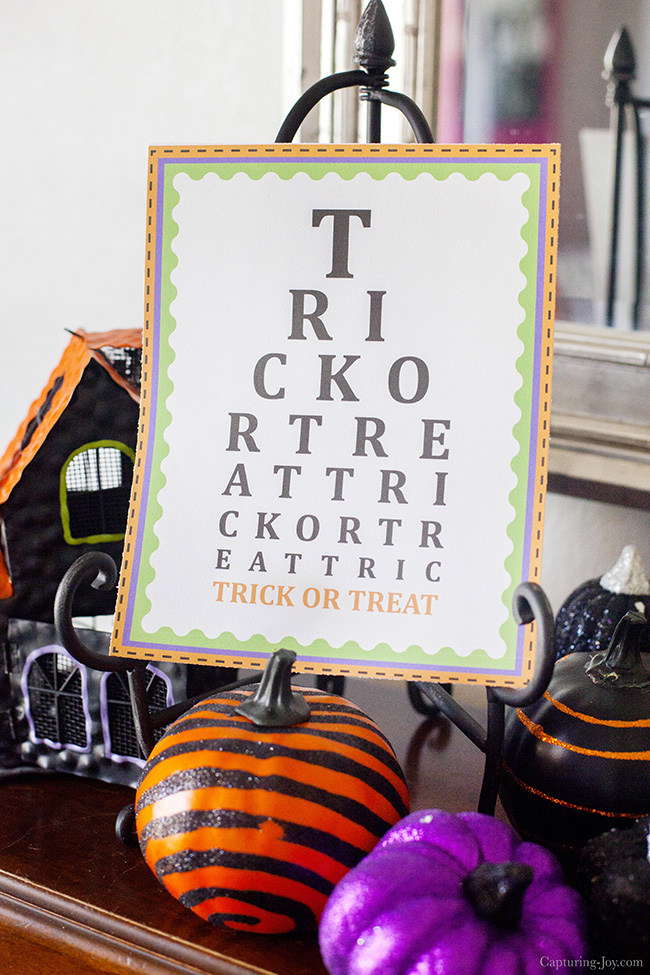 Trick or Treat Eye Chart Printable