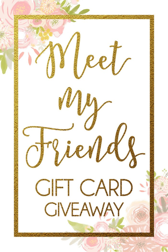 Meet My Friends Gift Card Giveaway