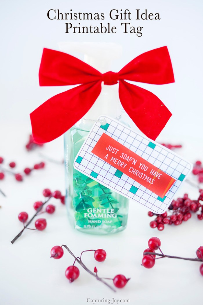Christmas hand soap gift idea and printable