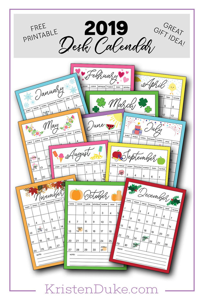 2019 Calendar Printable Capturing Joy With Kristen Duke