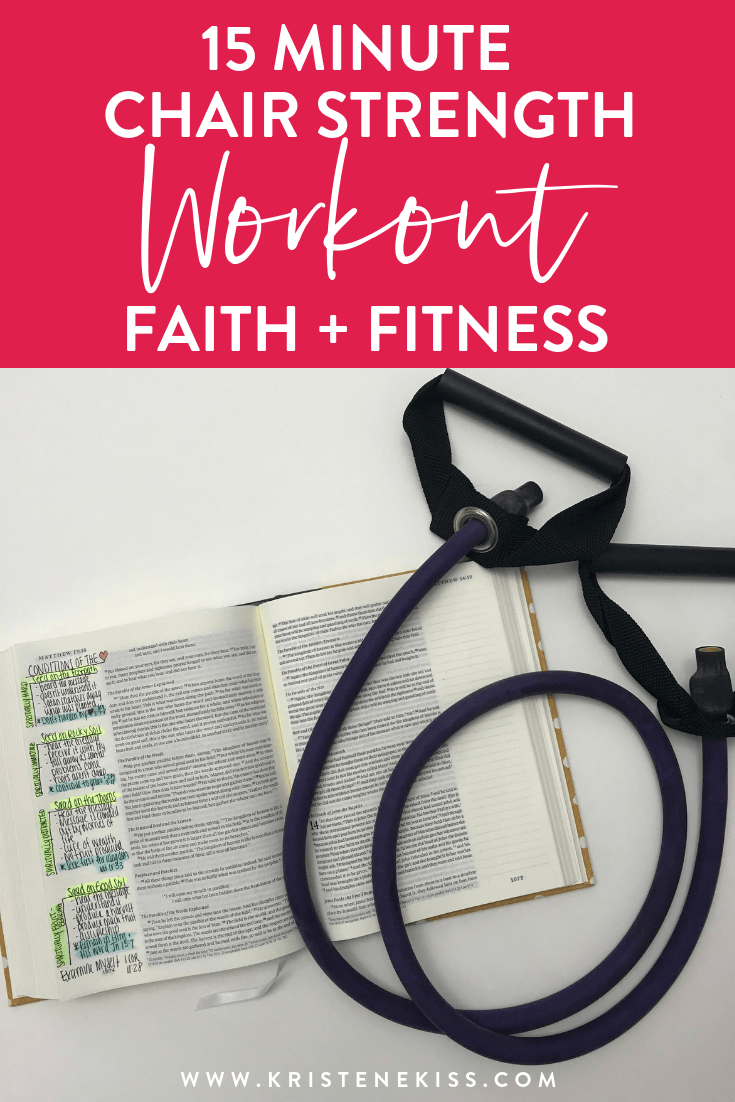 This workout is designed for almost anyone to do. This is a low impact workout that will raise your heart rate but doesn't require any jumping. Grab a set of dumbbells and a chair and join me for 15 minutes as we move through 5 exercises designed to help you strengthen your muscles and your heart. #faithandfitness #lowimpactfitness #weightloss #fitnessathome