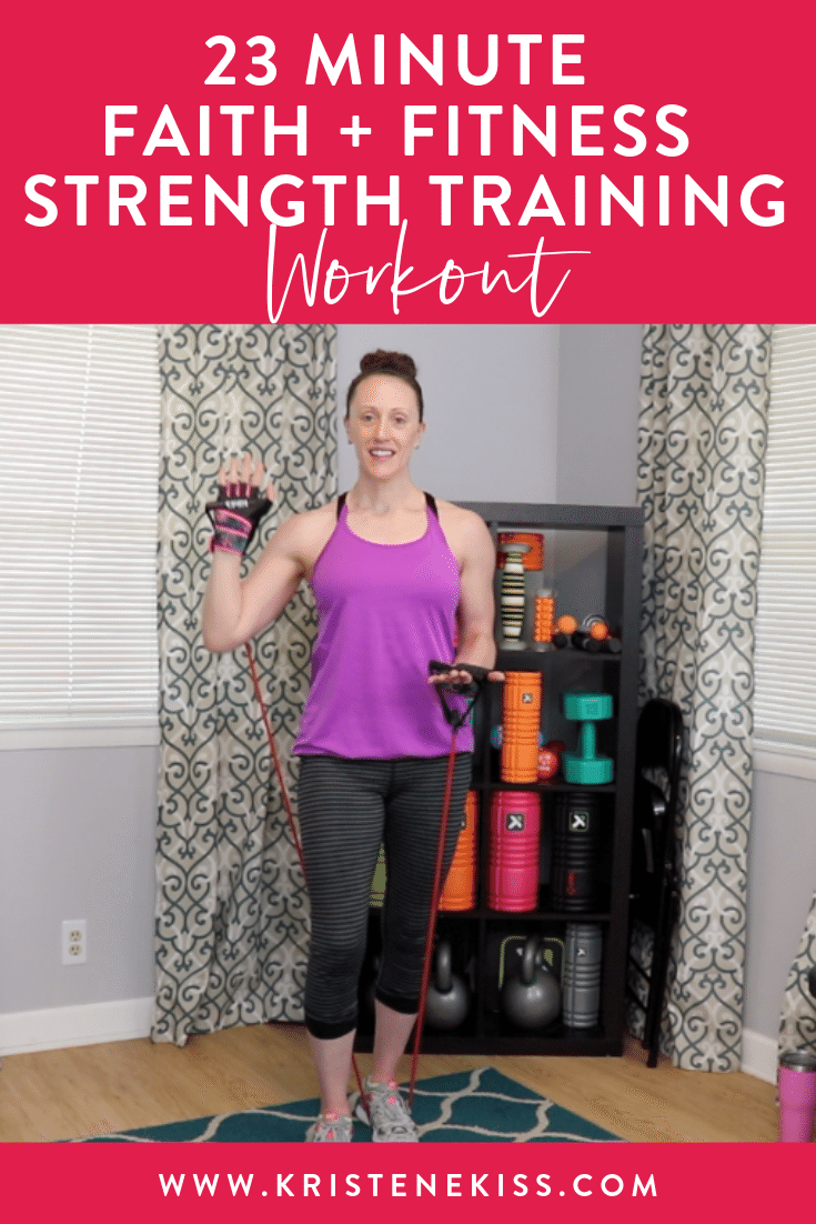 Join me for a 23 minute faith and fitness strength workout using a resistance band. We will focus on moving our bodies and shaping our hearts through worship and a workout.
