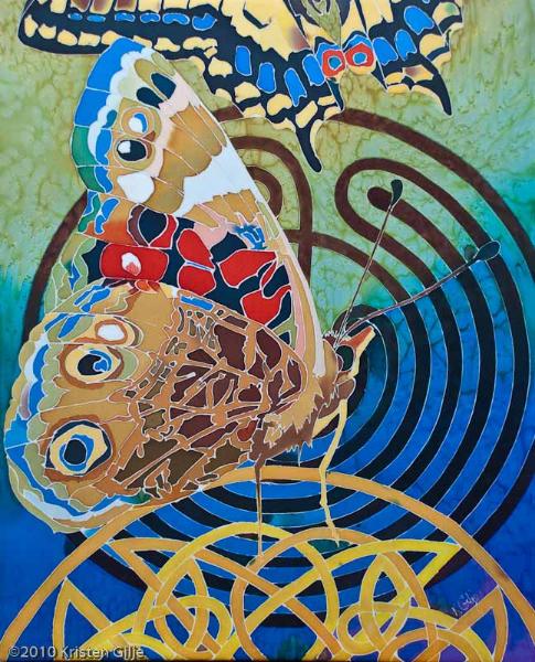 """©2010 Kristen Gilje, Painted Lady II, 28""""x22"""", silk dye on silk"""