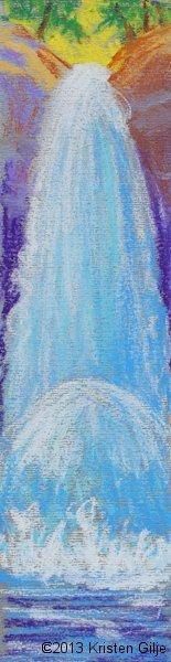 ©2013 Kristen Gilje Zion's Waterfall, pastel sketch 3