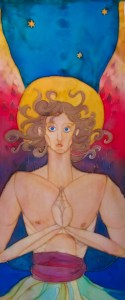 "2012 Emily Wagnitz, ""Gabriel"", Detail. Hand Painted silk, 60x11"". Grunewald Aug 2012-5"