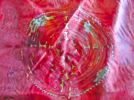 "Emily Wagnitz ""Labyrinth"" Detail, Handpainted Silk, 60"" x 11""."