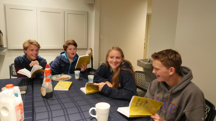 Aspen, Colorado teens Getting Their Story Straight over breakfast together.