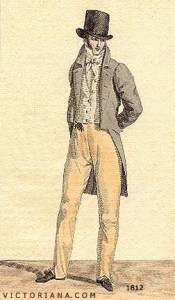 Regency Era Men's Fashion: tailcoat with squared cut away in front, circa 1812