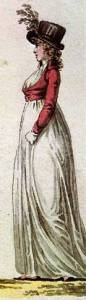 Regency Era Women's Fashion: Spencer jacket over a white muslin gown, 1798