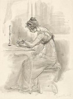Pen and ink drawing of Jane Austen writing at her desk.