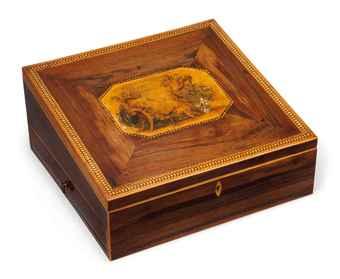 A Regency era mahogany and inlaid writing box, circa 1810.