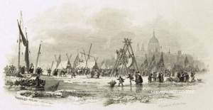 The Last Frost Fair: Painting of London Bridge Frost Fair in 1814.