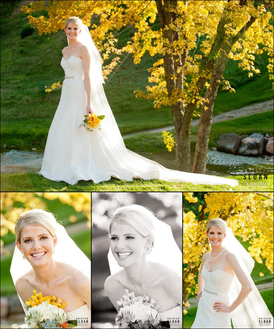 Fall Foliage Bridal Portrait Denver Photographer Kristen Sloan Moss Pink Flora