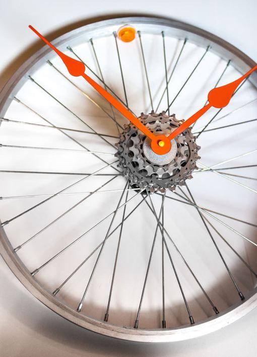 Repurposed-Bike-Wheel-Clock-Orange-and-Yellow-zoom