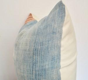 rust mudcloth vintage indigo pillow