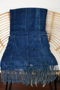 vintage indigo throw african fringe