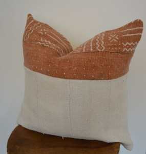 rust mudcloth vintage pillow boho