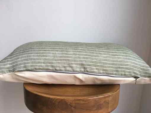 green striped linen lumbar