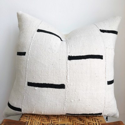vintage white mudcloth pillow with black stripes