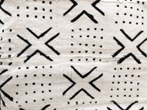 vintage mudcloth throw with x and dots