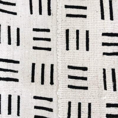 vintage mudcloth throw with 3 black stripe pattern