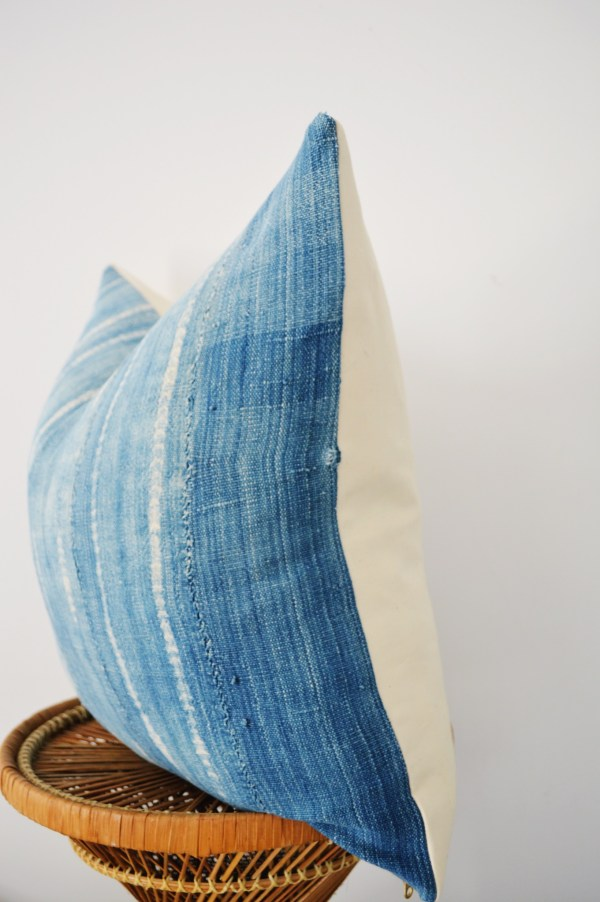 faded vintage indigo pillow
