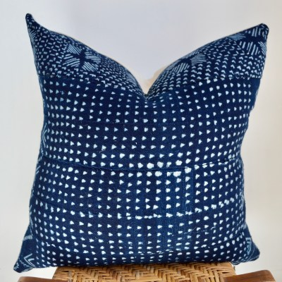african vintage patterned indigo pillow