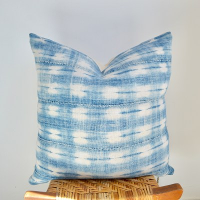 african vintage faded indigo pillow