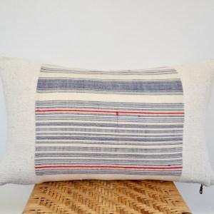 vintage hmong + white mudcloth lumbar pillow