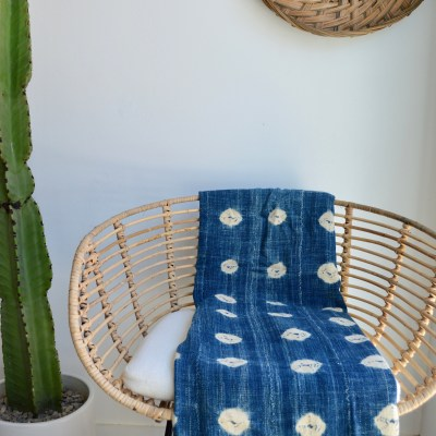 african vintage patterned indigo throw
