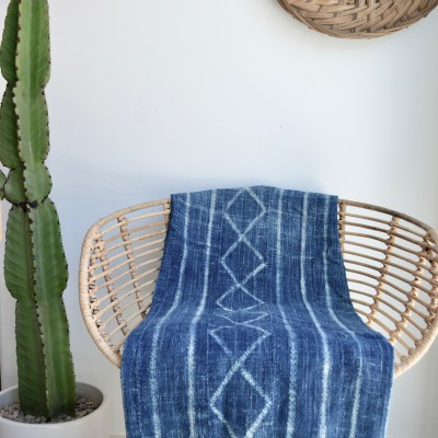 african vintage indigo throw