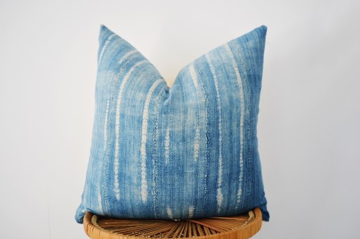 faded vintage indigo pillow