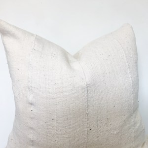 classic white mudcloth pillow