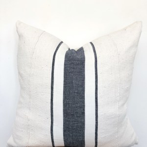 linen stripe and white mudcloth pillow