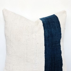 indigo stripe and vintage mudcloth pillow
