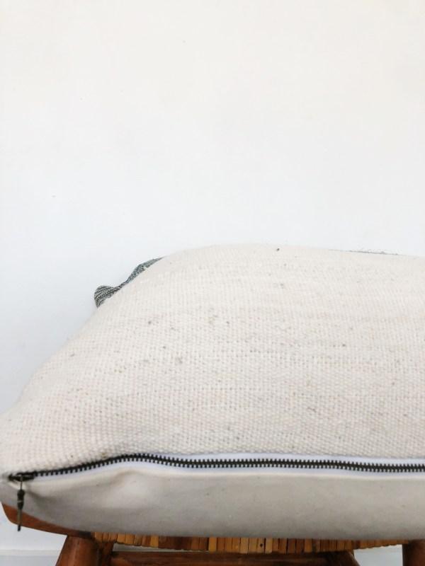 turquoise hemp & white mudcloth pillow