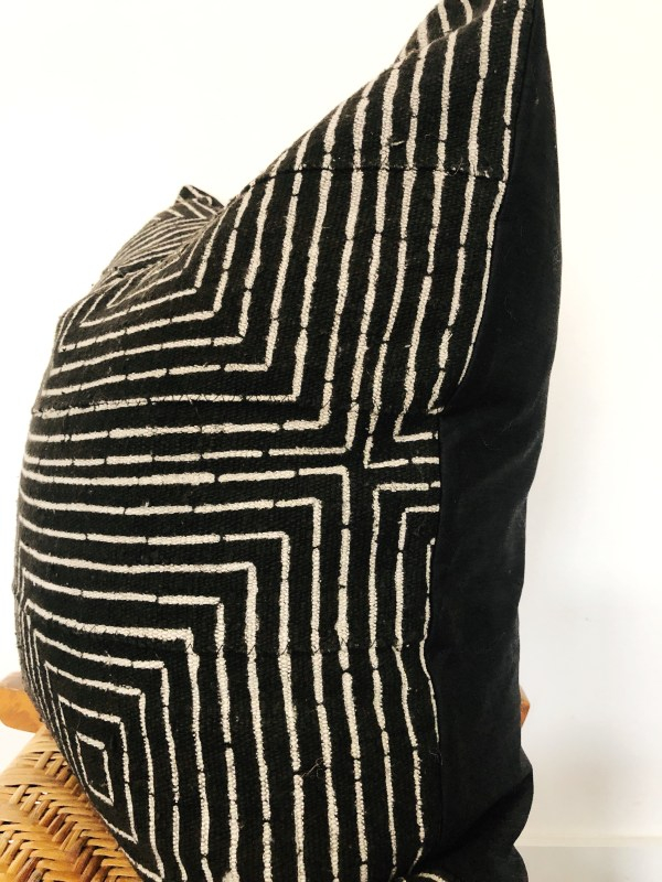 black patterned vintage mudcloth pillow