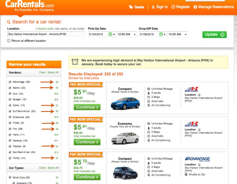 Car Rentals for under $10 Phoenix