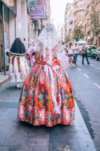 Woman in Spanish traditional Catalan dress from behind