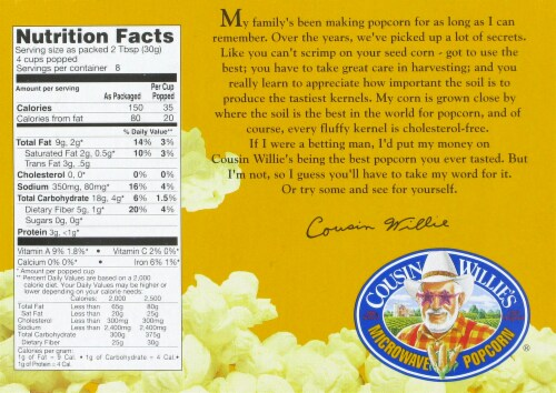 cousin willie s movie theater butter microwave popcorn 3 count 8 7 oz