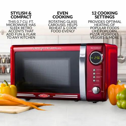 nostalgia electrics retrowave countertop microwave oven red chrome 1 ct
