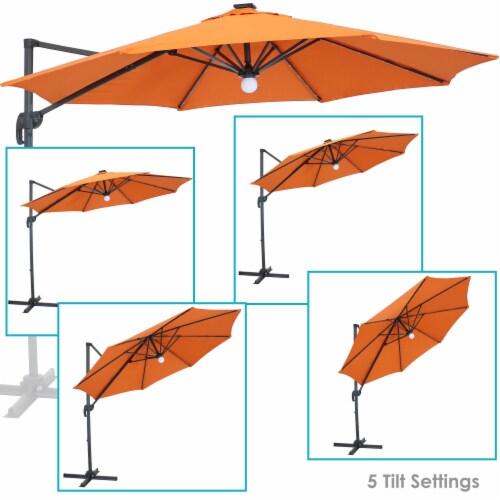 sunnydaze offset solar led patio umbrella 360 degree rotation burnt orange 1 unit s