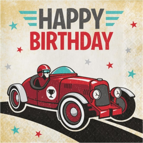 Creative Converting 345901 6 5 X 6 5 In Vintage Race Car Happy Birthday Luncheon 1 By 4 Fold 1 Dillons Food Stores